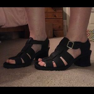Good used condition black leather sandals size 9